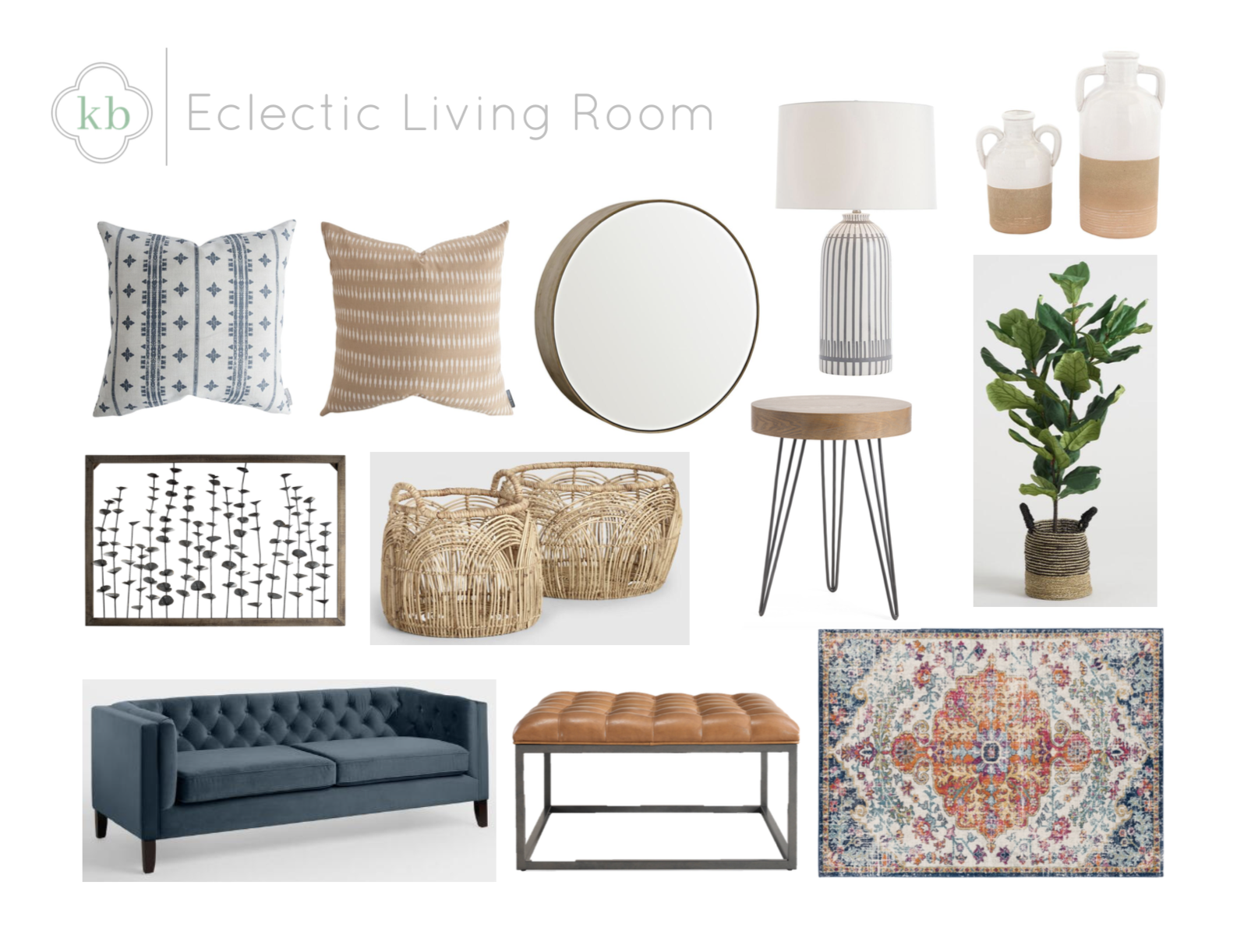 Eclectic Living Room - Kate Brock Interiors eDesign