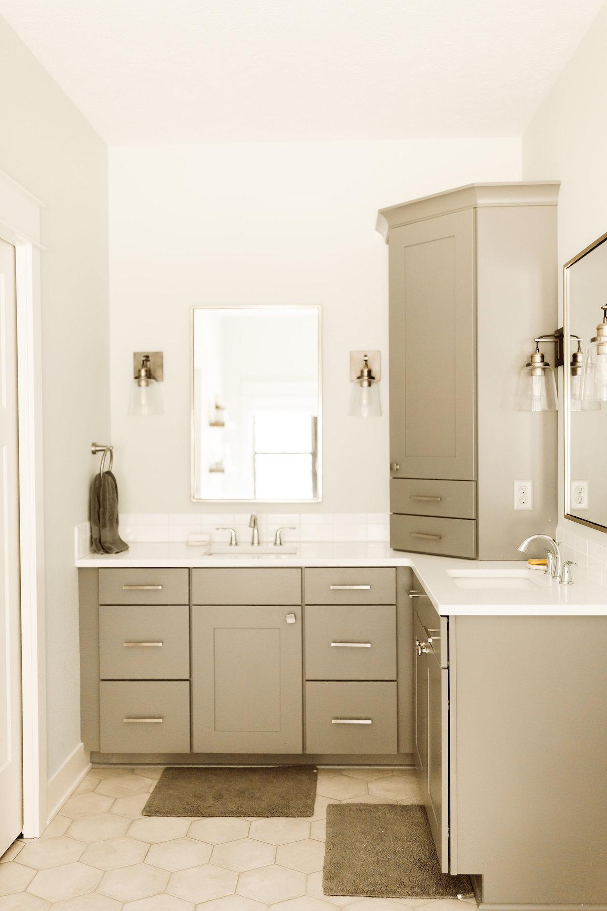 Modern Farmhouse New Build -Master Bath - Kate Brock Interiors