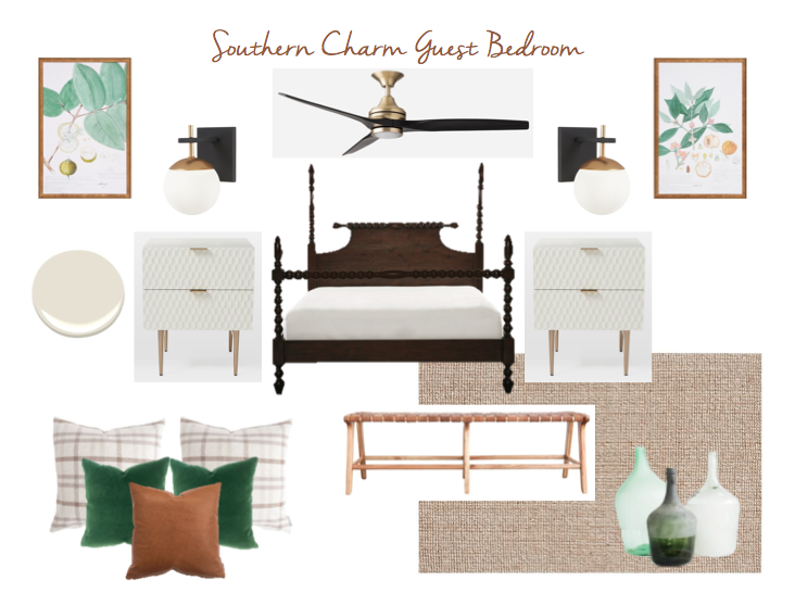 Southern Charm Guest Bedroom - Kate Brock Interiors eDesign